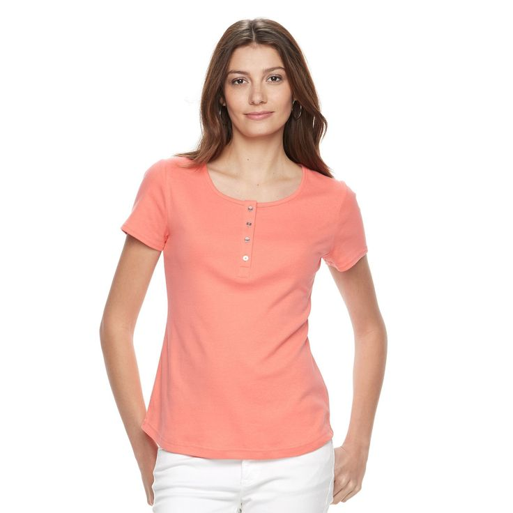 Women's Croft & Barrow® Henley Tee, Size: Medium, Lt Orange