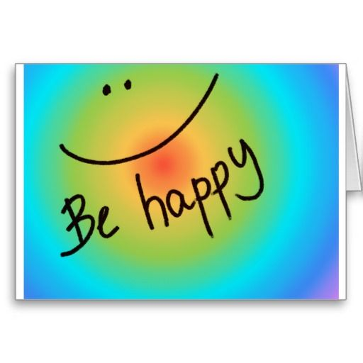 """""""Be happy"""" colourful smiley face, handwritten Cards"""
