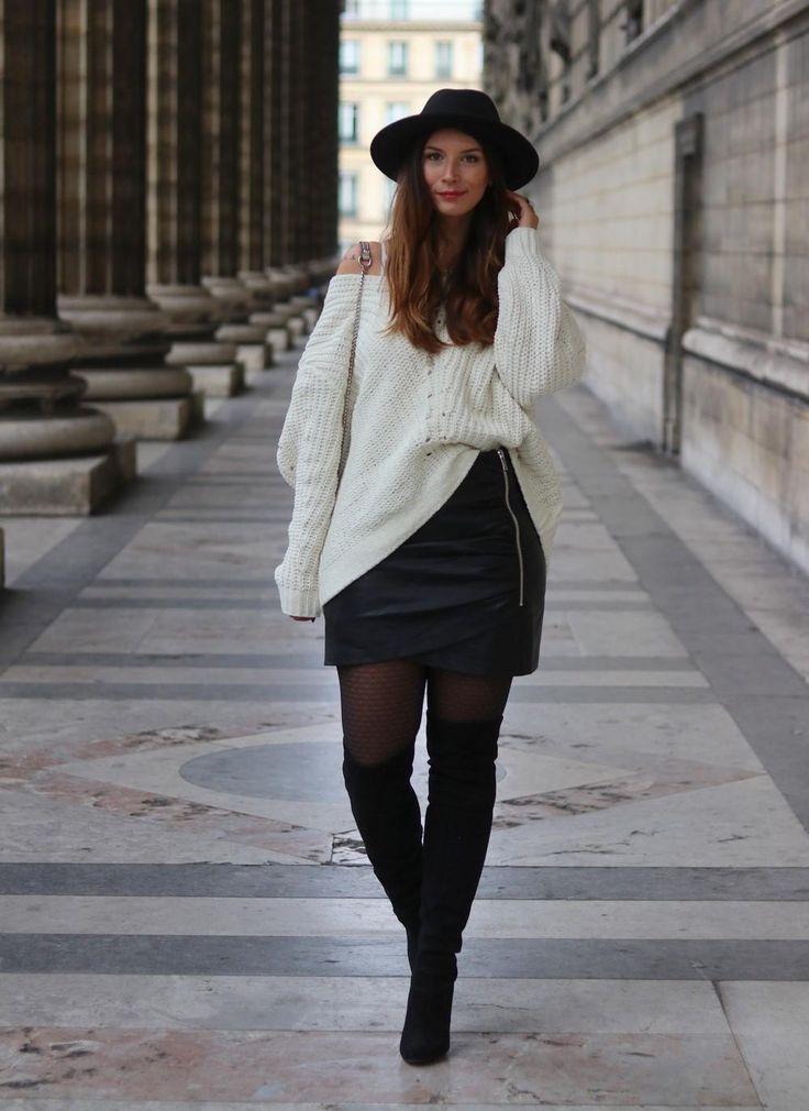 J'aime beaucoup le rendu et le style, je trouve que c'est très tendance d'associer une mini en cuir avec un gros pull et des cuissardes !