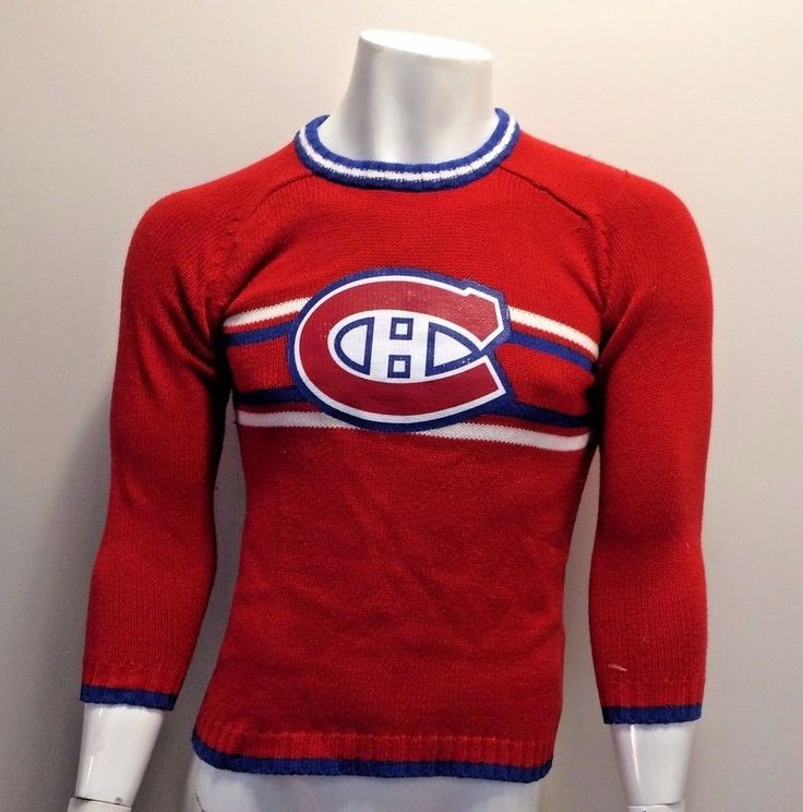Vintage NHL Woven Sweater Montreal Hockey Team Canadiens Habs Unisex Size Small #NHL #MontrealCanadiens