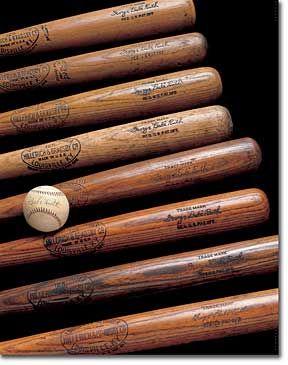 Babe Ruth Vintage baseball bats and autographed baseball.