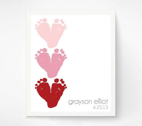 Valentines Day Gift for New Dad Red & Pink  Baby Footprint Hearts - Valentine Decor, Decoration - New Grandma Personalized Gift