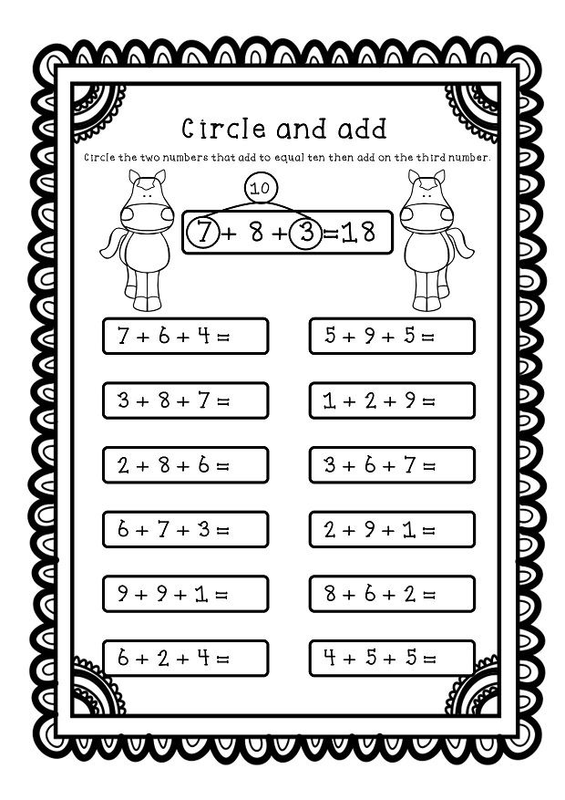 Adding Three Numbers Worksheets, Circle the two numbers that add to 10 to help you solve the problems.