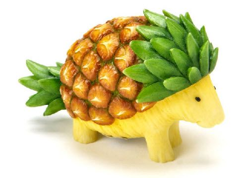 Pineapple Porcupine. Its cuteness is killing me! Definitely the best-designed fruit animal from the Home Grown Veggie. (Image Source: 20th Century Glass Pottery Collectibles)