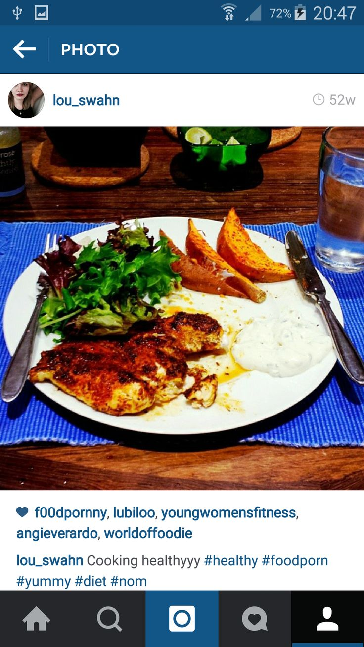 Again- sweet potatoes are a must. Chicken is a healthy, relatively fat free meat, and lots of veg besides that makes a delicious dinner! Optional home made sour cream dressing ;)