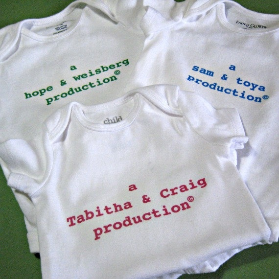 Personalized Baby Onesie  A Mom & Dad Production by RevolutionCoOp, $15.00