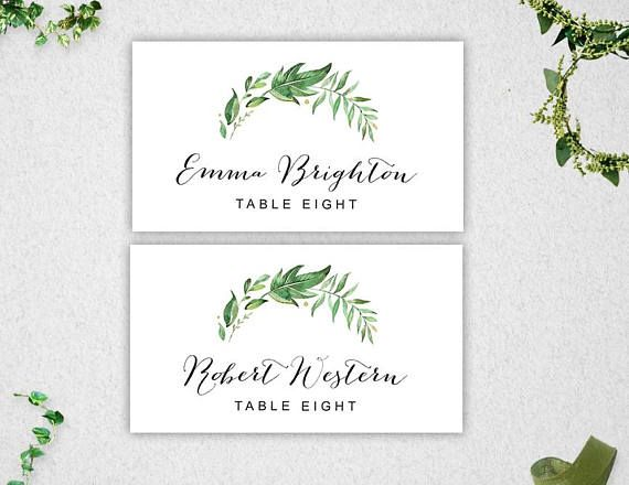PRINTABLE PLACE CARDS INSTANT DOWNLOAD  This item is available for you to instantly download after purchasing. Print your own PLACE CARDS, perfect for a party, greenery themed wedding or bridal shower! This item is an ideal do-it-yourself PLACE CARD tent style card to add a special touch to your celebration! You can print your own PLACE CARDS at home or at your local print shop. Edit wording easily and change to whatever you would like! Simply change the t...