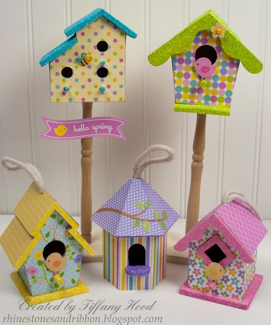 Decorated Birdhouses by Doodlebug Design.