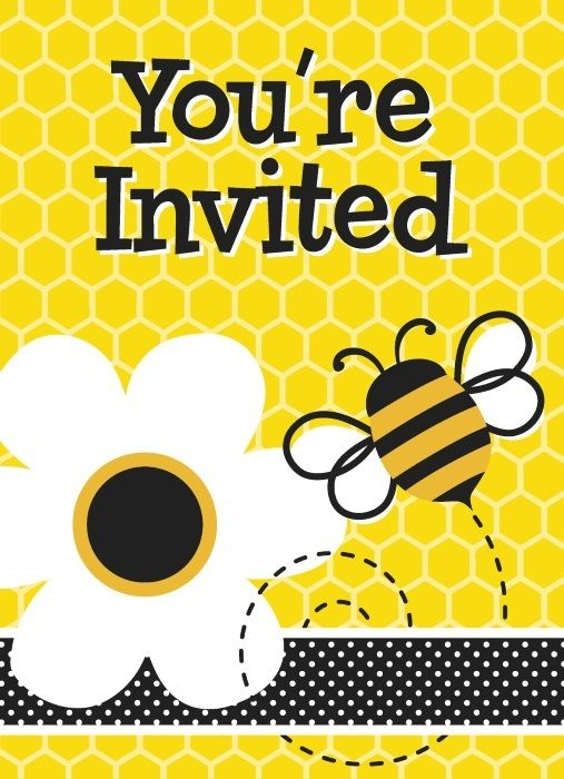 Busy Bee Invitations | Bumble Bee Birthday Party | Party Invitations.  These great invitations are perfect for a Bumble Bee Party - inside is For, Date, Time, Place, RSVP and Email!