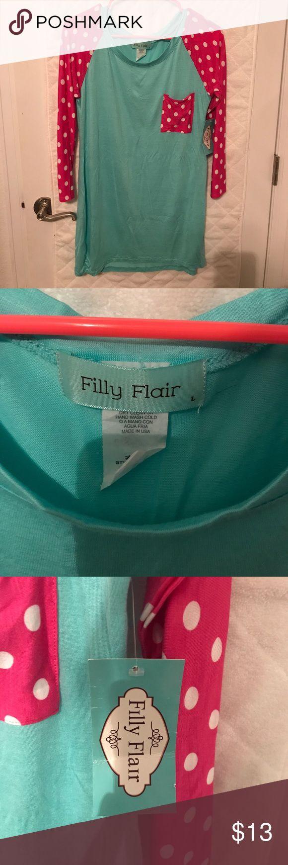 Cute polka dot shirt! 3/4 length sleeves, polka dot shirt, size large, new w/tags Filly Flair  Tops