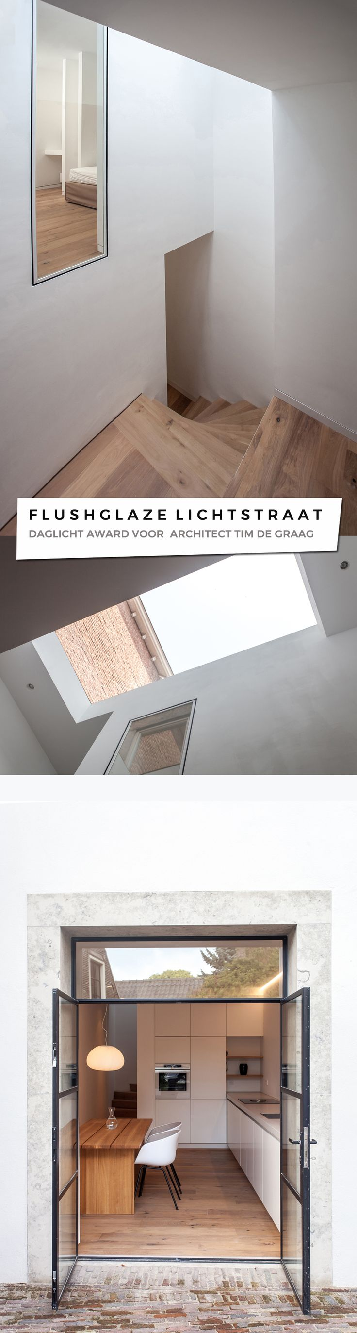 House 20×3 of young Dutch architect Tim de Graag has been rewarded the 2016 Daylight Award . Two rooflights of Glazing Vision were part of the concept.  TIM DE GRAAG WINT DAYLIGHT AWARD MET TRANSFORMATIE 3 METER BREED RIJKSMONUMENT.  De jonge architect Tim de Graag wint met het project 20×3 de Daylight Award 2016.