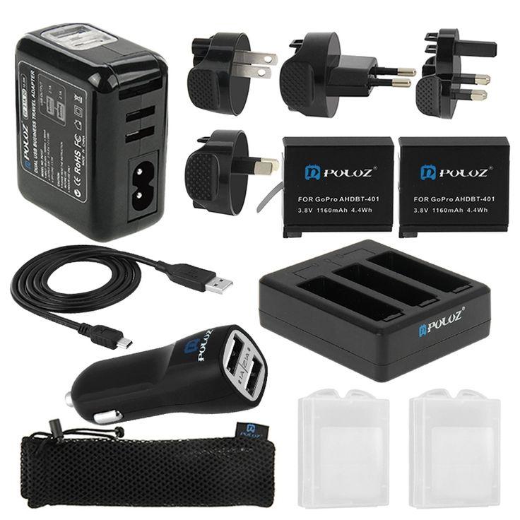 PULUZ 13 in 1 Accessoires Oplader Totale Combo Kit (Muur Lader / thuislader  Accu  Kabel  Autolader  Batterijlader  verzamel zak) voor GoPro HERO 4  Kenmerken 1. 100% van hoge kwaliteit en gloednieuw. 2. Mini 5pin USB Sync gegevens oplaadkabel voor GoPro HERO4 / 3 / 3. 3. Autolader kan je op de sigarettenaansteker van je auto stekken en via de USB-poort je apparaten opladen. 4. 3-kanaals lader kunt u je 2 GoPro batterijen tegelijkertijd opladen zorgt ervoor dat uw accu's worden opgeladen en…