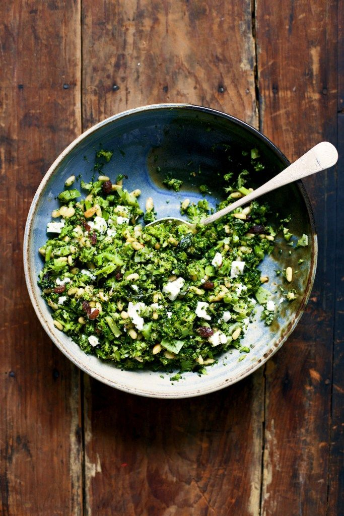 Healthy, easy broccoli salad recipe with pine nuts, feta, and raisins. Ready in under 30 minutes. Enjoy as a quick vegetable side dish or salad.