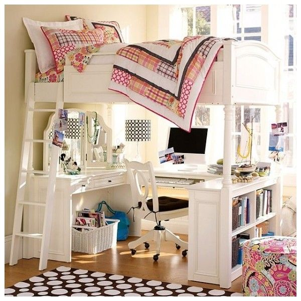 Fun Dorm Room Designs for Girls practical white bunker bed with study... ❤ liked on Polyvore featuring rooms, bedrooms, home, dorm and house