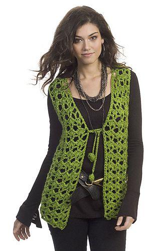 Crochet vest, sleeveless cardigan. Free pattern