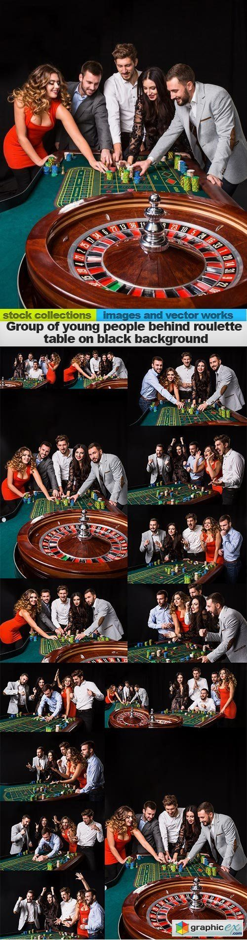 Wooden roulette buy black wooden roulette blackjack table led - Group Of Young People Behind Roulette Table On Black Background 15 X Uhq Jpeg Stock Images