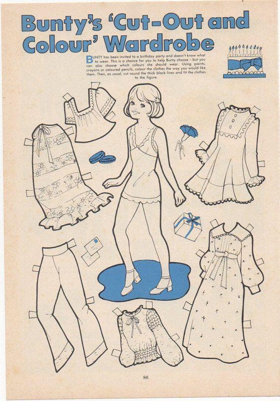 Vintage Paper Doll Bunty's cut out wardrobe by SadieScissorhand
