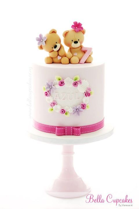Girl Teddy Bear Picnic Birthday-- teddy bear cake