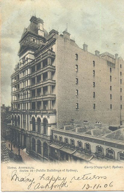 The fabulous Australia Hotel backed onto Rowe Street, Sydney, and celebrities often used its back door to slip out and do a bit of quiet shopping in the fashionable Rowe Street boutiques. History NSW
