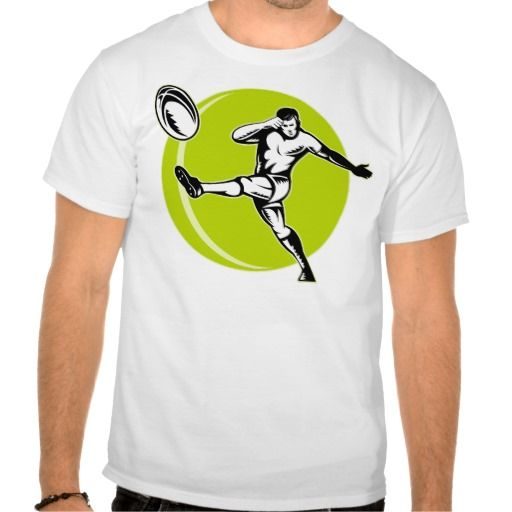 rugby player kicking ball woodcut shirts. retro style illustration of a rugby player kicking ball set inside set in side circle done in woodcut style. #retro #rugbyplayerkickingball #rwc #rwc2015 #rugbyworldcup