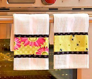 Triple Border Dish Towels - would be even cuter if the band is embroidered before sewing to towel