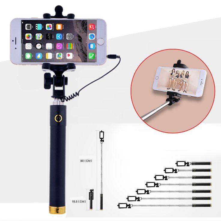 זול אוניברסלי נייד wired stretchable selfie stick עבור iphone samsung galaxy huawei סוני htc xiaomi mini stick חצובה חדרגל, לקנות איכות selfie מקלות ישירות מספקי סין: