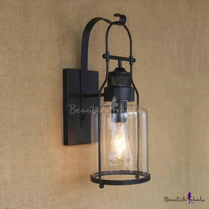 Rustic Loft Style Industrial Metal Lantern Wall Sconce In Black Finish