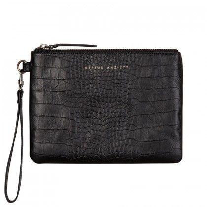 STATUS ANXIETY Fixation Wallet Clutch Black Croc