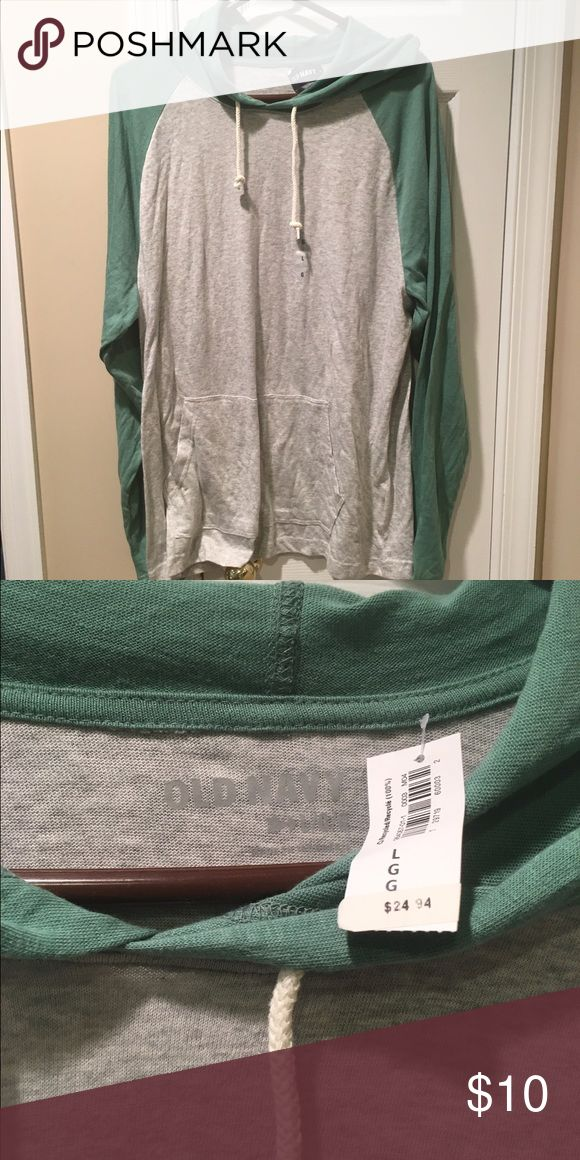 Men's Old Nacy hooded long sleeve This gray and green men's long sleeve hooded shirt is so soft and brand new! Old Navy Shirts Tees - Long Sleeve