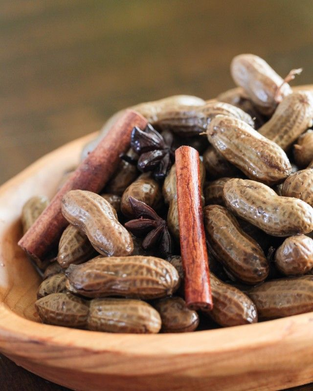Chinese Boiled Peanuts Recipe from Steamy Kitchen.  Star anise, cinnamon, garlic, salt