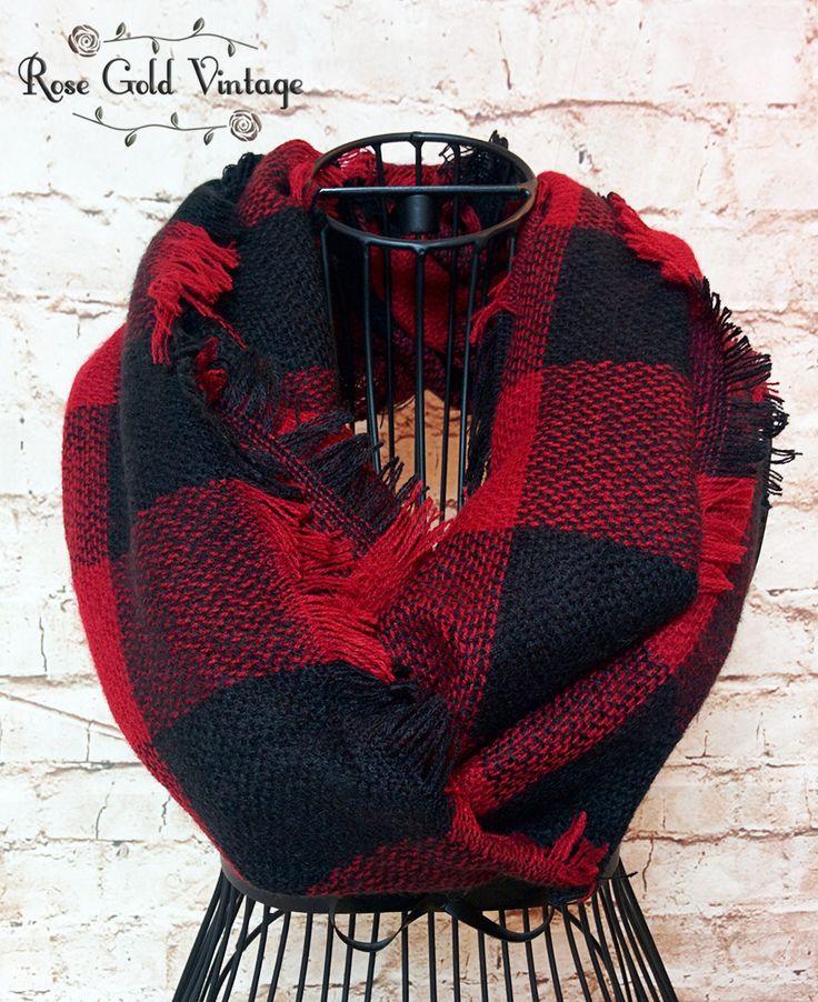 Buffalo Plaid Infinity Scarf - Black & Red