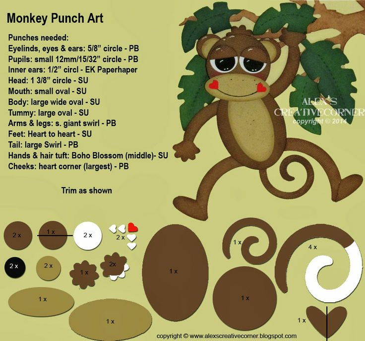 Alex's Creative Corner: Hang in there - Monkey Punch Art Instructions