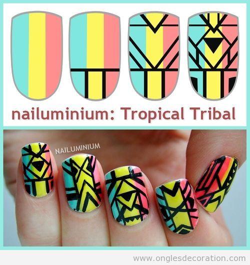 Comment dessiner un motif tribal et tropical sur les ongles, tuto | Décoration…