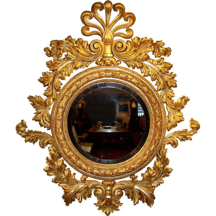 Gilded Convex Mirror From England Early 19th Cent