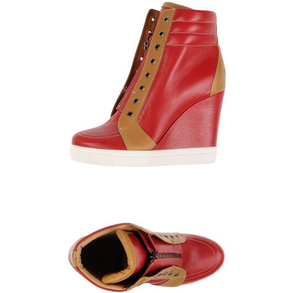 high wedge shoes red - photo #8