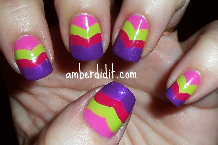 love: Chilis Tops, Nails Art, Amber, Hair Nails Makeup, Fishtail Nails, Easter Eggs, Nails Galas, Bright Chevron, Chevron Nails