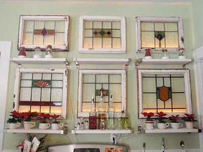 Up-cycled old windows with backlighting