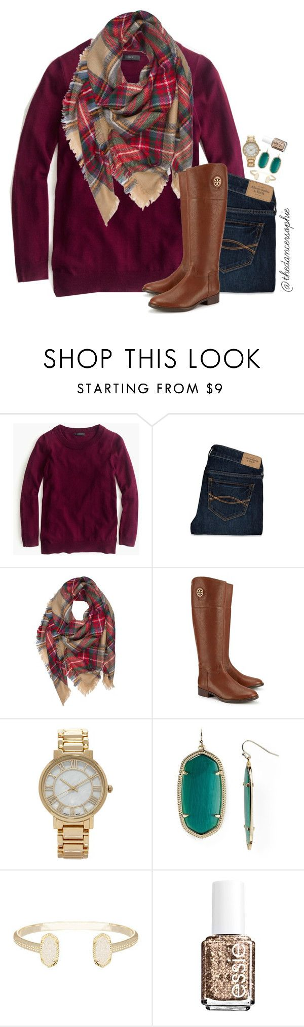 """""""I just ordered a bunch of free preppy stickers!!!"""" by thedancersophie ❤ liked on Polyvore featuring J.Crew, Abercrombie & Fitch, Tory Burch, Forever 21, Kendra Scott and Essie"""