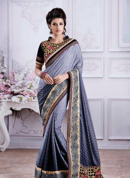 Crape silk Grey latest designer saree for party wear H15297