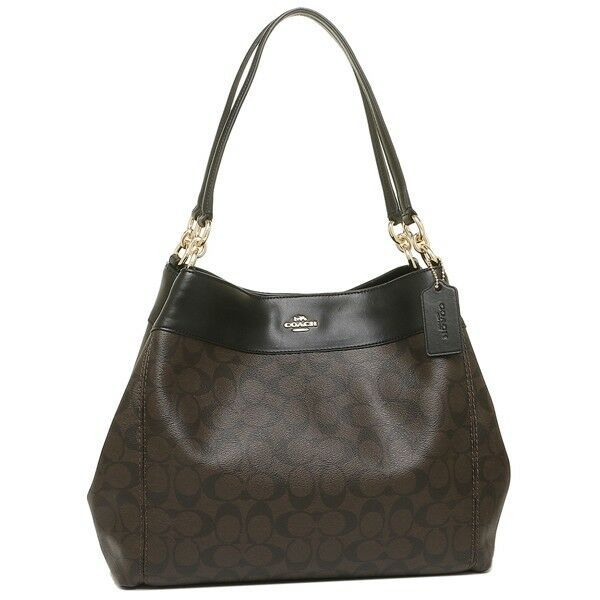NWT Coach F27972 Signature Lexy Coated Canvas Leather Shoulder Bag Brown Black