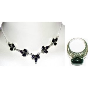 Handmade Jewelry Amethyst Necklace and Ring Set Sterling Silver Jewelry Online Shop 15 inches (Jewelry)  http://balanceddiet.me.uk/lushstuff.php?p=B000Y2GXT6  B000Y2GXT6