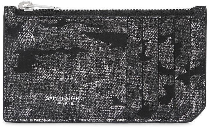 Lamé Camouflage Leather Zip Card Holder #saintlaurent