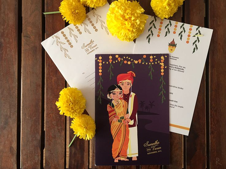illustrated wedding invitations, cute indian wedding invitations, indian…