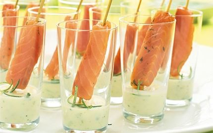 Cured salmon skewers with lime dip