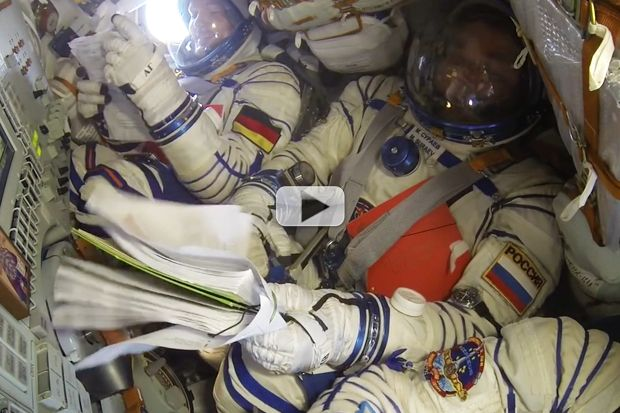 """When Soyuz capsule seats 'cock,' it's tighter than """"fitting three people into the front of a Volkswagen Beetle"""" says NASA Astronaut Kjell Lindgren. With astronauts Chris Cassidy and Tracy Dyson, Lindgren reminisces about this squashy right of passage"""