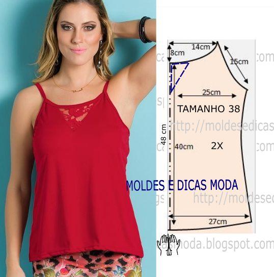 O desenho do molde de blusa vermelha não tem valor de costura tem que ser…