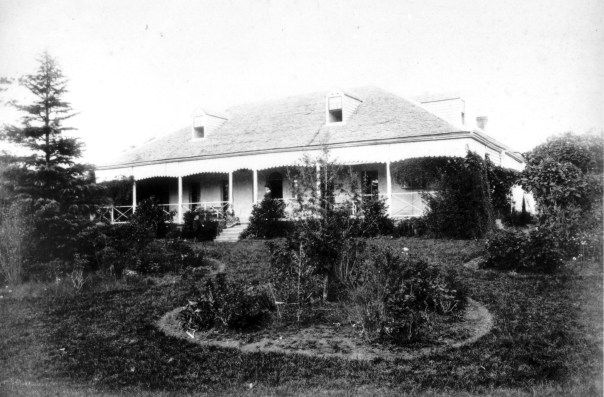 Rhodes House, Rhodes NSW c.1875. Built in 1823 for Thomas Walker (1791-1861) and his wife, Anna Elizabeth Blaxland on the Parramatta River near the northern end of Blaxland Road. It was named after his mother's ancestral estate in Yorkshire. Walker's Estate at Rhodes was first subdivided in September 1895 with a further subdivision being made in 1910. Rhodes House was demolished about 1918 for John Darling & Son flour mill, later Allied Feed Mills (now a residential development).