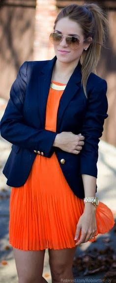 Orange Mini dress and navy blazer