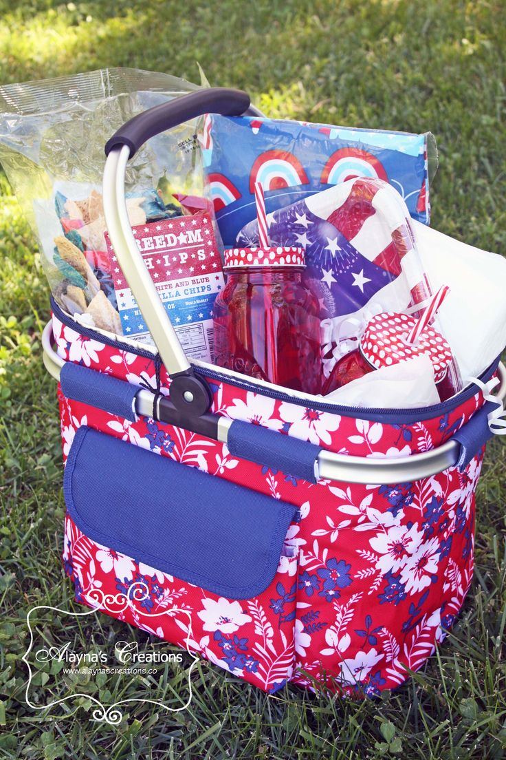 Picnic Themed Summer Gift Basket Patriotic Red White and Blue for 4th of July
