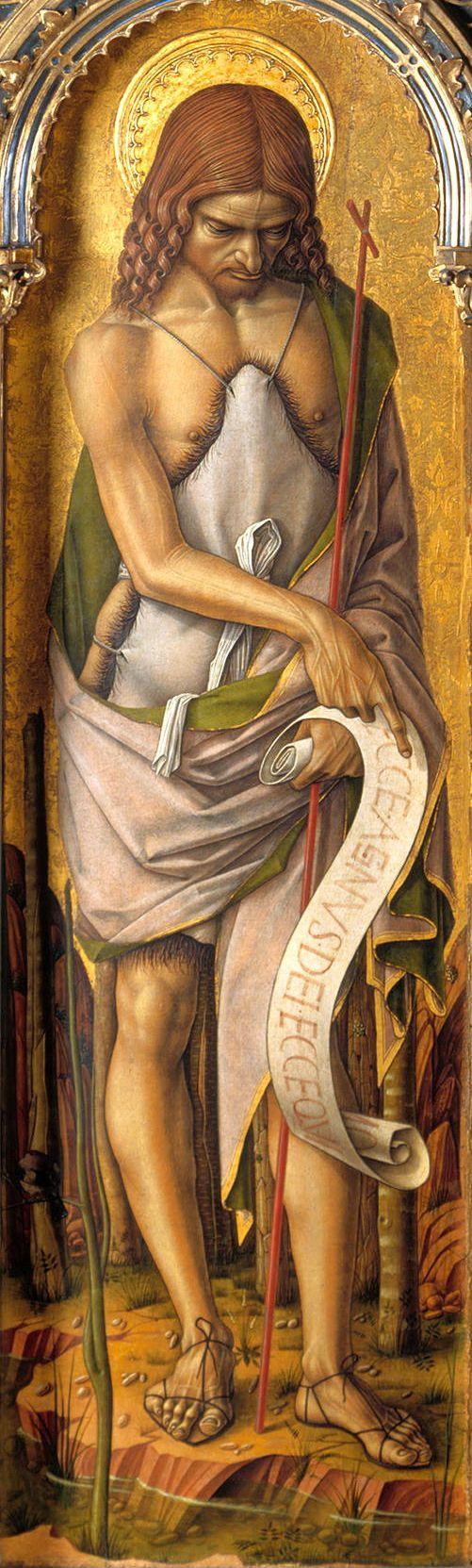 Carlo Crivelli-San Giovanni Battista, 138x40 cm,pannello registro inferiore dello smembrato Polittico di san Domenico,National gallery,Londra